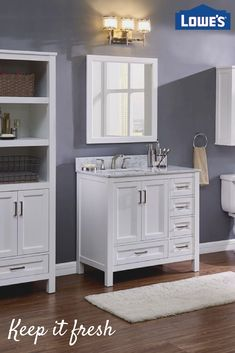 Transform your bathroom into a tranquil space. Lowe's can help create a spa like space that is perfect for you. From vanities and cabinets to faucets and lighting – Lowe's has you covered. Modern Bathroom, Small Bathroom, Bathroom Ideas, Bathroom Designs, Dream Bathrooms, Bathroom Colors, Bath Ideas, Bathroom Inspiration, Lavender Bathroom