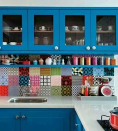 Decoration, Spectacular Kitchen Tile Photo Gallery With Colorful Kitchen Backsplash Ideas Also Inspiration Blue Cabinets Shelves And Red Pan On Stoves Along With Sink Combining White Countertop: Tile Backsplash Ideas for Modern Kitchen Kitchen Backsplash, Diy Kitchen, Backsplash Ideas, Happy Kitchen, Mosaic Backsplash, Eclectic Kitchen, Splashback Tiles, Awesome Kitchen, Funky Kitchen