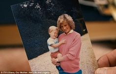 Studying a photo of Diana (shown) holding him whilst pregnant with Prince Harry, Prince William says: 'Believe it or not, you and I are both in this photograph, you're in the tummy'