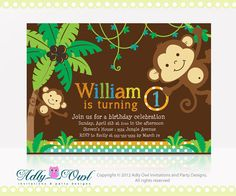 Personalized Jungle Monkeys Birthday Printable DIY party invitation for boy - ONLY digital file - you print