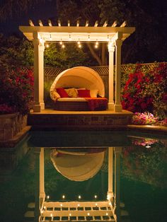 Pleasant Inground Swimming Pool to Complete Luxurious Courtyard: Terrific Gathering Spot With Small White Pergola With Romantic Lighting Add...