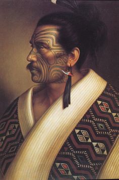 """Portrait of Maori man Kamariera Te Hau Takiri Wharepapa"" Gottfried Lindauer. Polynesian People, Polynesian Art, Polynesian Culture, Maori Face Tattoo, Ta Moko Tattoo, Tahiti, Zealand Tattoo, Maori People, Maori Tattoo Designs"