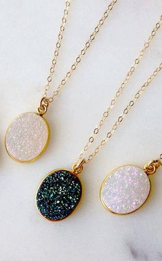 "Chain Length: 16"" with a ¾"" druzy pendant - 14 karat gold fill, Druzy - Handmade (with love) in San Francisco The Druzy Oval Necklace is made of raw cut natural stone, and as such, imperfections such"