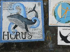 Whale painting at Horta, Faial island, Azores