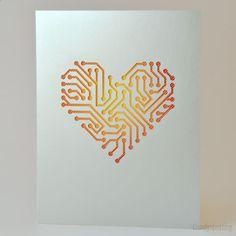 Neon Circuit Board Card