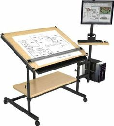 """Professional Drafting Table 48""""x36"""" - Black Frame, Maple Surface by Versa Drafting Tables. $499.00. Adjustable desktop surface height of 29 inch - 40 inch (Professional Drafting Table). Made using a 14 gauge American steel frame for superior stability and durability. 75 degrees of tilt adjustment. Easy pop-pin adjustment system. Scratch resistant and durable powder coat finish. Professional Drafting Table: Designed with the professional draftsman in mind, the 48 Professional..."""