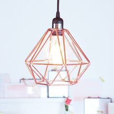 Nordic geometric copper ceiling pendant light by made with love designs- Gold Ceiling Light, Copper Ceiling, Copper Pendant Lights, Ceiling Rose, Ceiling Pendant, Ceiling Lights, Pendant Lamp, Rose Gold Lamp Shade, Rose Gold Lights