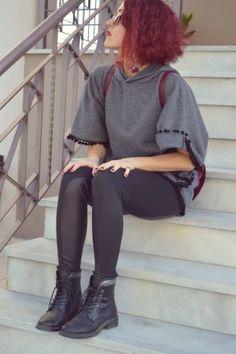 #streetstyle #girly #poncho #leggings #bikerboots World Street, Street Styles, Girly, Punk, Leggings, Fashion, Moda, Girly Girl, Fashion Styles