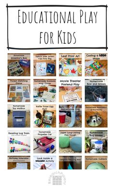 Fun, hands-on educational play activities for kids including homemade toys, craft & play recipes, board games, and independent games. Preschool Learning Activities, Toddler Preschool, Summer Activities, Teaching Kids, Kids Learning, Toddler Play, Early Learning, Map Games, Board Games