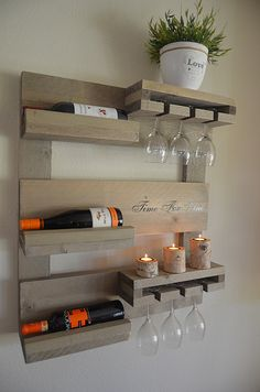 Stained Wall Mounted Wine Rack Wine and Liquor Shelf Modern Decor Wedding Gifts Wine and Glass Storage Modern Wine Racks Wine Racks Wine Rack Wall, Wood Wine Racks, Modern Wine Rack, Wine Stand, Wine Shelves, Wine Decor, Wine Cabinets, Diy Wood Projects, Bars For Home