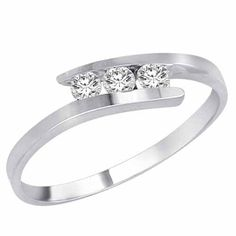 14K White Gold 3 Stone Channel Set Round Diamond Engagement Ring