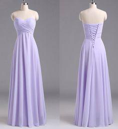 Sweetheart Lavender Bridesmaid Dresses, Chiffon Floor-length Bridesmaid Dress with Ruching Detail, Long Bridesmaid Dresses