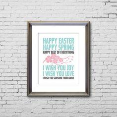 Happy Easter Poems | PRINTABLE Happy Easter Happy Spring Poem Artwork by JaydotCreative, $5 ...