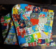 "Vintage Plaid Quilted Patchwork Marcus Bros Seersucker Fabric 3.5 Yards 40"" Wide"
