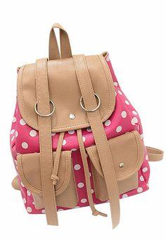 $25.99 [grzxy62000132]Leisure Cute Mixing Color Polka-dot Print Backpack Bag
