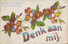 Denk aan mij - Dee's kaart geev uiting aan mijn gemoed. Vintage greeting kaart