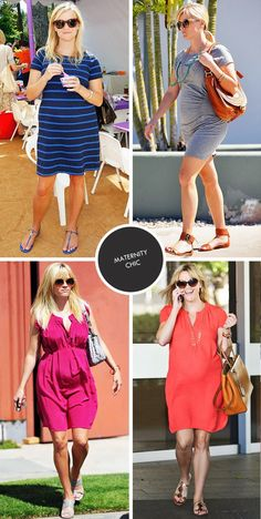 Reese Witherspoon's maternity style--no need to wear all black and baggy clothes during a pregnancy!  I love the idea of showing off a beautiful growing baby bump with bright colors, nicely-fitted cuts, and perfect details like stripes and darts.  Go Reese!  Show 'em how it's done.