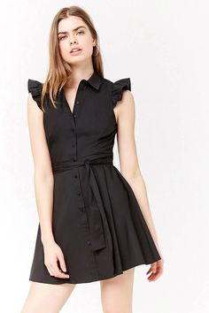 Product Name:Shirred Sleeve Shirt Dress, Category:dress, Price:22.9
