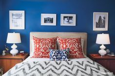 A Cool, Calm and Cobalt Bedroom – Homepolish Soothing, deep and unusual, we can't get enough of Mari Blue Bedroom Walls, Blue Bedroom Decor, Bedroom Orange, Blue Rooms, Blue Walls, Bedroom Colors, Calm Bedroom, Royal Bedroom, Blue Bedroom Ideas For Couples