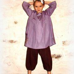 Robe tunique petits motifs violets forme large
