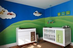 I will always like grass and sky walls for a kids room or playroom.