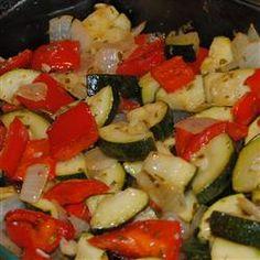 Mediterranean Roast Vegetables Recipe: Potato, red bell pepper, fennel bulb, zucchini, garlic, olive oil, salt, vegetable bouillon powder, fresh rosemary, balsamic vinegar.
