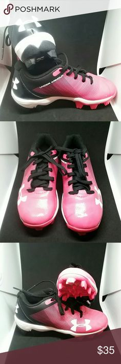 b6ebb4f4b051 Under Armour youth size 11 kids cleats NWOT leadoff low baseball cleats.  Black and pink