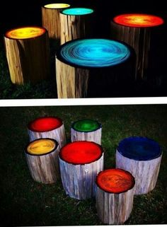 Glow painted tree stumps