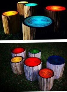 Glow painted tree stumps