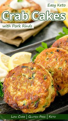 """Easy Keto Crab Cakes with Pork Rinds """"Most seafood cakes contain wheat flour. But this easy keto crab cakes recipe will delight your taste buds without the unnecessary gluten and carbs."""" Easy Keto Crab Cakes with Pork Rinds – You must try this recipe. Ketogenic Recipes, Low Carb Recipes, Diet Recipes, Healthy Recipes, Delicious Recipes, Healthy Food, Yummy Food, Crab Cake Recipes, Seafood Recipes"""