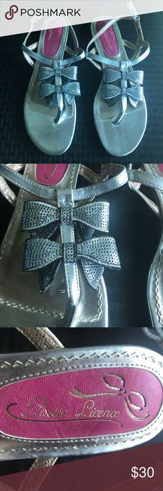 Poetic License Silver Bow Sandals Poetic License Silver Bow Sandals Gently worn. Perfect for a wedding reception or other formal event. Poetic License Shoes Sandals