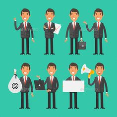 Vector illustration ?Businessman in red tie in different poses? created in graphic editor Adobe Illustrator CC, and saved in Ai, E