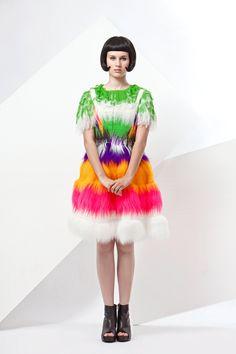 17% sale FUR DRESS MULTICOLOR neon Ooak bespoke by NATIPUREIDEA