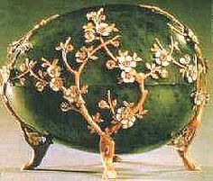 "1901 Kelch Apple Blossom Egg, also known as ""Jade Chest Egg""  This is one of the largest eggs made by Faberge. It was also one of the egg initially mistaken as a present for Empress Maria Fyodorovna. The egg's design reflects the contemporary fashions of Art Nouveau and the Japanese style"