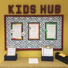 Informational Church Bulletin Board  The new Kid's Hub! A great way to keep parents informed about each ministry and upcoming events.