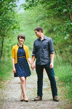 Love this yellow cardigan with belted navy polka dot dress // Cardigans are great for quickly switching up your outfit or adding a colour pop // Paige & Jesse's engagement photos: http://alyssaschroeder.com/british-columbia-river-engagement-jesse-paige // Alyssa Schroeder Photography