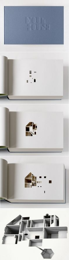 Olafur Eliasson, Your House, 2006. 430 x 270 x 105 mm, 908 pages. Artist's book, limited edition of 225 —Commissioned by the Library Council of the Museum of Modern Art in New York, Your House consists of a laser-cut negative of Olafur Eliasson's house in Copenhagen at a scale of 85:1. The book is based on a computer-generated model of the house sliced vertically into 454 even parts. Each of the corresponding 454 hand-bound, individually-cut pages corresponds to 2.2 cm of the actual house.