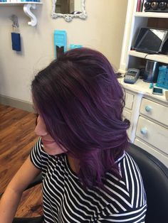 Dark purple hair medium length