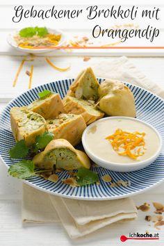 Innen saftig, außen knusprig sind diese Brokkoliröschen 🥦  im Backteig! Der Orangendip ist herrlich cremig und fruchtig zugleich und passt phänomenal dazu. Einfach Eintauchen und reinbeissen! 😋 Camembert Cheese, Cantaloupe, Dairy, Veggies, Appetizers, Fruit, Ethnic Recipes, Food, Vegetable Recipes