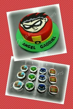 Robin Teens Titans Go Cake with Cupcakes