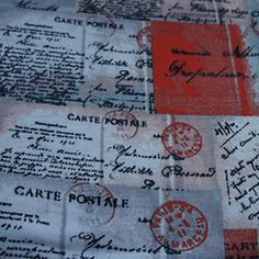 Postcards on Cotton Jersey Knit Fabric