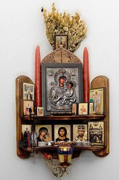 "Home altar.the Matchmaker leads couples to an altar devoted to knitting to ""stitch"" them together for life Religious Icons, Religious Art, Religion, Catholic Altar, Catholic Relics, Pagan Altar, Prayer Corner, Spiritus, Arte Popular"