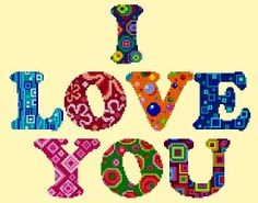 I Love You- Colorful Abstract- Cross Stitch Design/ Pattern by Cross Stitch Designs Rinna