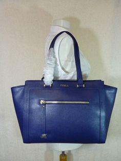 NWT FURLA Navy Blue Saffiano Leather Large Ginevra Tote Bag $498 #Furla #TotesShoppers