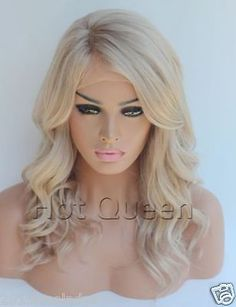"""100% Brazilian Remy Human Hair Blonde Wavy Full Lace Wig Lace Front Wig 16""""-24"""""""