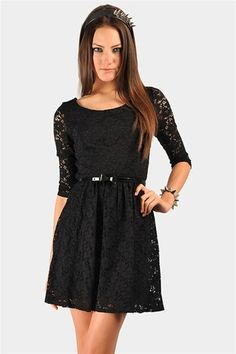 Surely Laced Dress - Black