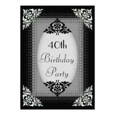 Elegant Black and Silver 40th Birthday Custom Invites