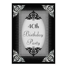 Elegant Black and Silver 40th Birthday Custom Invites