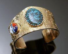 Wes Willie 14K Gold Cuff Bracelet. http://www.leotasindianart.com/ #nativeamericanjewelry #turquoisejewelry