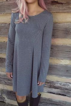 Casual Scoop Neckline Long Sleeve Striped Loose-Fitting Women's Dress Long Sleeve Dresses | RoseGal.com Mobile